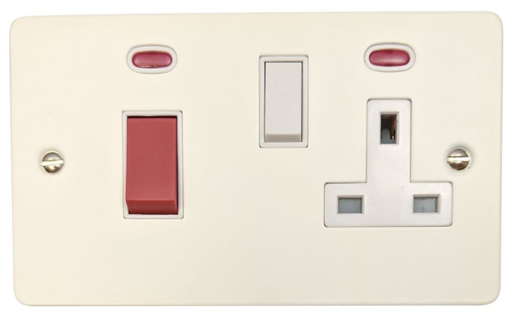G&H FW29W Flat Plate Matt White 45 Amp DP Cooker Switch & 13A Switched Socket